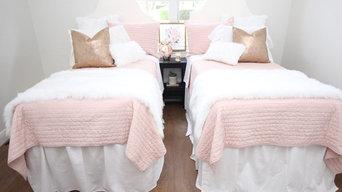 Blush, Rose Gold, and Faux Fur Dorm Room Bedding