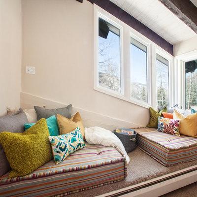 Trendy bedroom photo in Denver with beige walls