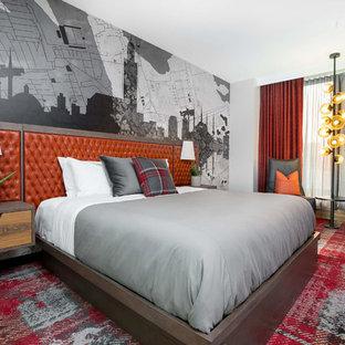 Idéer för sovrum, med vita väggar, heltäckningsmatta och rött golv