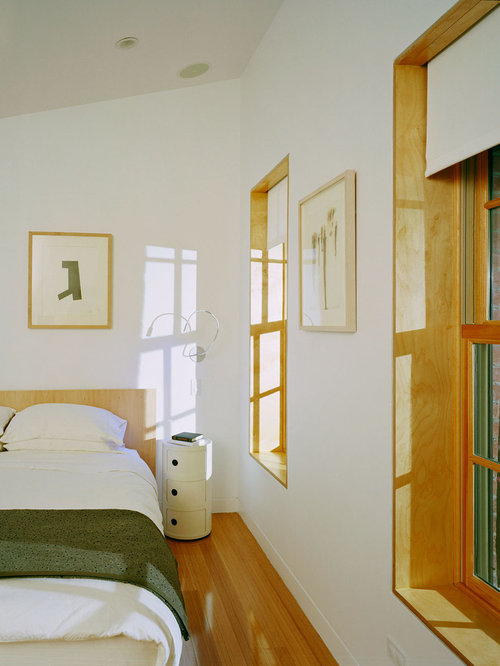 Modern Medium Tone Wood Floor Bedroom Idea In New York With White Walls