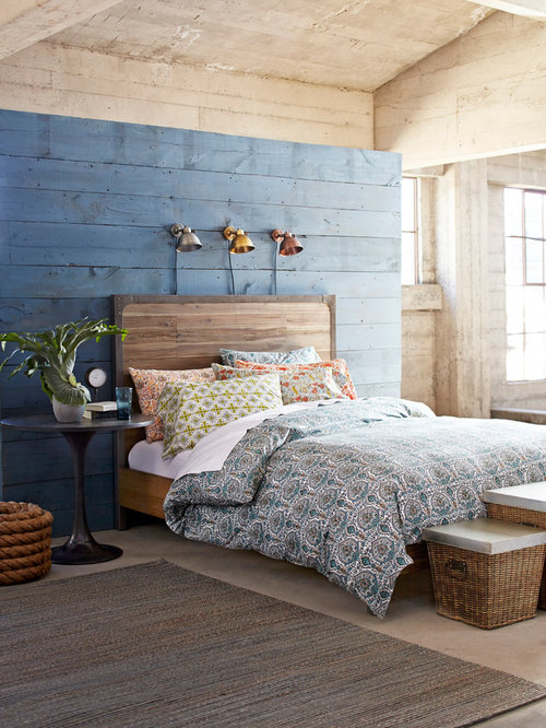 Country Bedroom Photo In San Francisco With Blue Walls