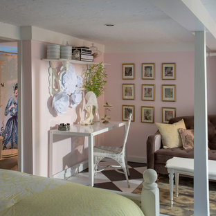 Photo of a shabby-chic style bedroom in Los Angeles with pink walls and multi-coloured floor.