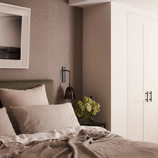 Inspiration for a contemporary bedroom in Sydney with grey walls.