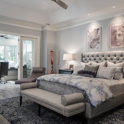 Bedroom - transitional master dark wood floor and brown floor bedroom idea in Miami with gray walls