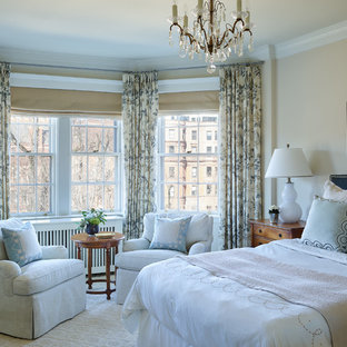 Example of a mid-sized classic master carpeted and beige floor bedroom design in Boston with beige walls and no fireplace