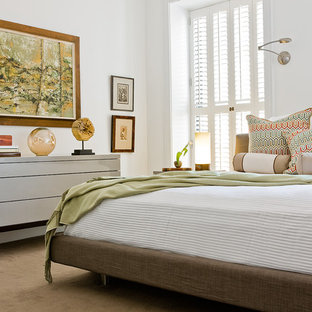 Mid-sized danish master carpeted bedroom photo in Boston with white walls and no fireplace