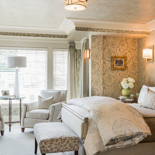 Large elegant master carpeted bedroom photo in Boston with beige walls and no fireplace