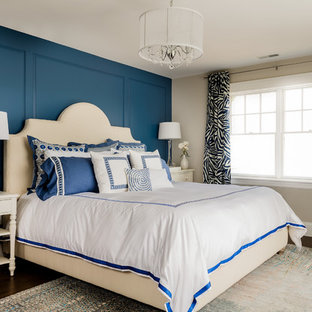 Inspiration for a mid-sized transitional master dark wood floor bedroom remodel in Boston with blue walls and no fireplace