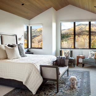 Modelo de dormitorio principal, clásico renovado, de tamaño medio, con chimenea tradicional, marco de chimenea de ladrillo, paredes blancas, moqueta y suelo gris