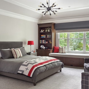 Boy's Bedroom in Gray with Red Accents