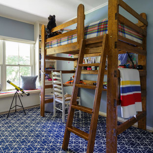 Mid-sized transitional loft-style bedroom in San Francisco with blue walls, carpet and blue floor.