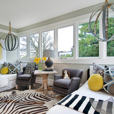 Inspiration for a contemporary bedroom remodel in San Francisco with gray walls