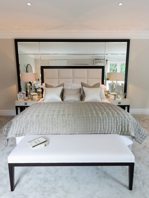 contemporary bedroom idea in surrey - Mirror Bed Frame