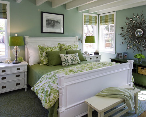 Coastal bedroom photo in San Francisco with blue walls - Antique Reproduction Bedroom Furniture Houzz