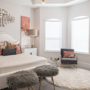 Inspiration for a transitional bedroom in Houston with grey walls, carpet, grey floor and recessed.