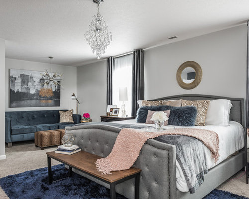 transitional master carpeted and gray floor bedroom idea in indianapolis with gray walls