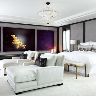 Trendy bedroom photo in Toronto with gray walls