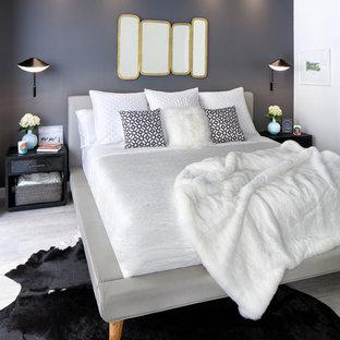 マイアミの小さい北欧スタイルのおしゃれな主寝室 (クッションフロア、黒い壁、暖炉なし) のレイアウト