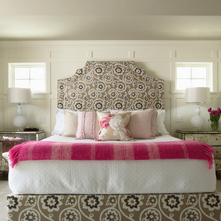 Design ideas for a traditional bedroom in Minneapolis with grey walls.