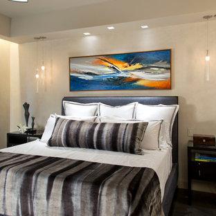 Mittelgroßes Modernes Hauptschlafzimmer mit grauer Wandfarbe, braunem Holzboden, Gaskamin und Kaminumrandung aus Stein in Denver