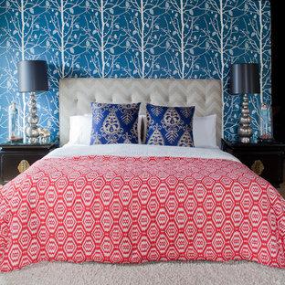 サンフランシスコのコンテンポラリースタイルのおしゃれな寝室 (青い壁)