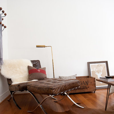 Eclectic bedroom photo in Dallas with white walls