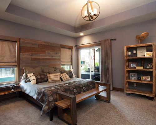 rustic bedroom design purple color scheme   Rustic Bedroom Design Ideas, Remodels & Photos with Purple ...
