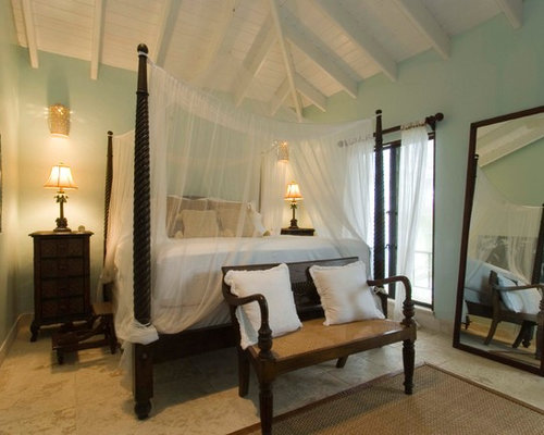 Island Style Bedroom Photo In Tampa With Blue Walls