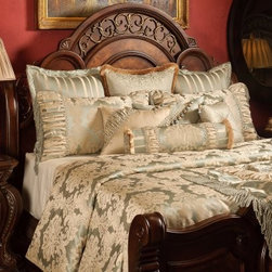 """Bedding 2013 - Taupe and Sea Spray color Damask Patterns enhanced with rushing, and enriched with opulent trims and beading. This Bed Set includes 1 King Oversized Duvet Cover (118"""" w x 102"""" L), three reversible 26"""" x 26"""" Euros Shams, two King shams 21"""" x 36"""" and four Decorative pillows. (1- 18"""" x 24"""", 1- 16"""" x 16"""", 1- 16"""" x 20"""" and 1-Tootise. Throw sold separately"""