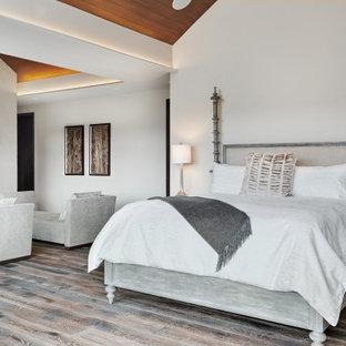Foto på ett rustikt sovrum