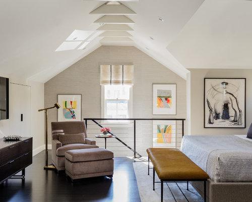 Great ides dco pour une chambre mansarde ou avec mezzanine avec un mur beige et un with - Eclairage chambre mansardee ...