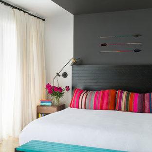 Idéer för att renovera ett funkis sovrum, med grå väggar