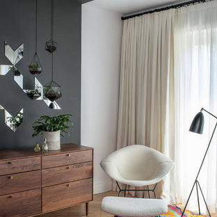 Example of a trendy bedroom design in Portland with gray walls