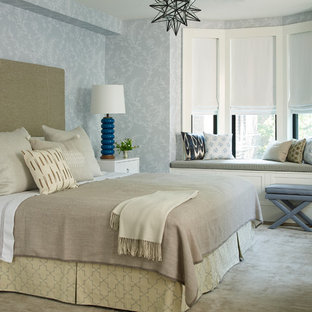Mid-sized transitional master bedroom in New York with carpet, black walls, no fireplace and grey floor.