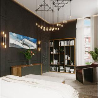 ニューヨークの中くらいのコンテンポラリースタイルのおしゃれな主寝室 (黒い壁、淡色無垢フローリング、標準型暖炉、石材の暖炉まわり、グレーの床、格子天井、パネル壁) のインテリア