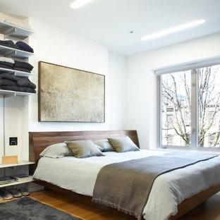 ニューヨークの中くらいのコンテンポラリースタイルのおしゃれな寝室 (白い壁、無垢フローリング、茶色い床)