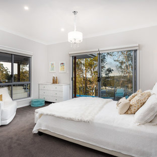 Photo of a transitional bedroom in Brisbane with grey walls, carpet and black floor.