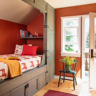Mid-sized country guest bedroom in Milwaukee with red walls, light hardwood floors, no fireplace and brown floor.