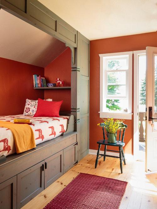 947 Foto di camere da letto con pareti rosse