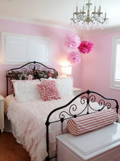 Girls Brown And Pink Bedroom
