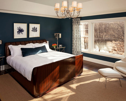 Example Of A Transitional Bedroom Design In Minneapolis With Blue Walls