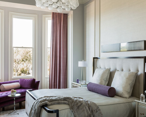 Transitional dark wood floor bedroom idea in Boston with gray walls. Pink And Purple Bedroom Ideas And Photos   Houzz