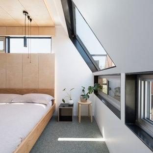 Exempel på ett litet modernt huvudsovrum, med vita väggar och heltäckningsmatta