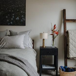 Foto de dormitorio tipo loft, minimalista, con paredes blancas, suelo de madera clara, chimenea de doble cara y marco de chimenea de yeso