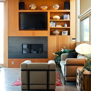 На фото: хозяйская спальня среднего размера в стиле модернизм с бетонным полом, горизонтальным камином и фасадом камина из металла