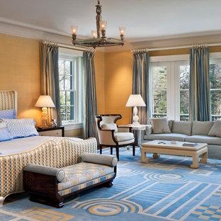 フィラデルフィアのトラディショナルスタイルのおしゃれな寝室 (オレンジの壁) のインテリア