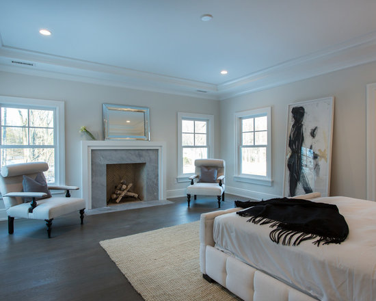 Marble fireplace surround houzz for Master bedroom corner fireplace