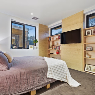 Design ideas for a mid-sized contemporary master bedroom in Melbourne with multi-coloured walls, carpet, no fireplace and black floor.