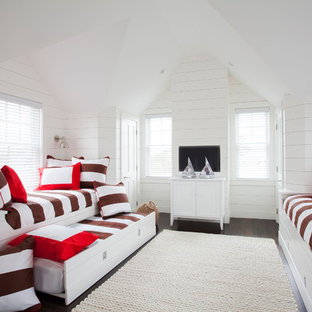 Bedroom - beach style guest dark wood floor bedroom idea in Boston with white walls and no fireplace