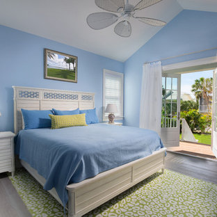 Example of a mid-sized coastal master light wood floor bedroom design in Tampa with blue walls and no fireplace